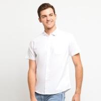 FTSL PPSS Kemeja Polos Putih Pria Lengan Pendek Simple Baju Katun Cowo