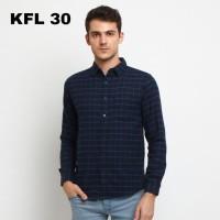 FTSL KFL baju kemeja flanel navy biru dongker casual pria panjang