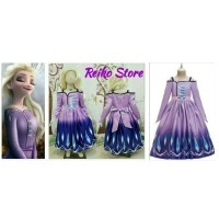 Kostum Frozen 2 II Elsa Ungu 30 Dress Baju Princess Anak Perempuan