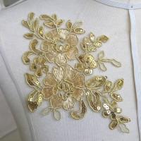 aplikasi brokat tile kembang hiasan masker perca bunga emas gold