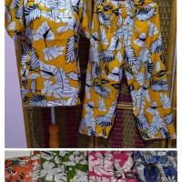 Baju tidur set batik solo bahan katun rayon all size
