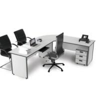 Meja Kantor Modera Bentuk L uk.Meja Kiri dan Kanan 120cm wrn abu