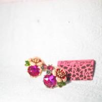 ANTING WANITA RED RHINSTONE ENAMEL FLOWER (BETSEY JOHNSON)