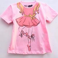 Kaos Anak Perempuan Balet Pink 7-10 Tahun - 7T