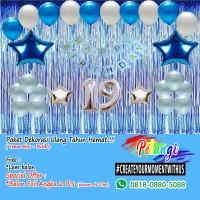 Paket Dekorasi ulang Tahun Murah Tema Biru - BIRU - PUTIH
