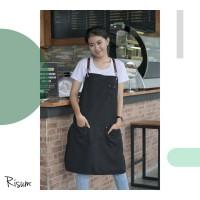 Apron canvas water repellent w/ syntetic leather (barista, chef)-Black