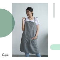 Apron canvas water repellent w/ synthetic leather (barista, chef)-Grey