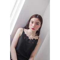 KORZ V-Neck Lace Strappy Cami - Black