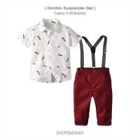 Shirt Suspender Boy Set Party Hem Baju Anak Cowok Dasi Pesta GORDON