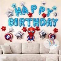 Paket Dekorasi Hiasan Balon Happy Birthday / Ulang Tahun Spiderman