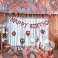Paket Dekorasi Balon Ulang Tahun / Happy Birthday Tema Rose Gold 05