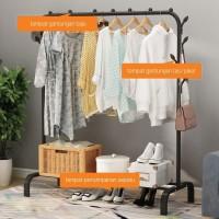Rak Jemuran Baju Pakaian Gantung Besi Rak Standing Single Clothes 997 - Hitam