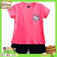 Setelan Baju/Kaos Anak Motif Hello Kitty 1 - 10 Tahun - Merah Muda, 3-4 tahun