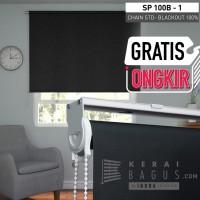 Roller Blinds Blackout Chain STD (100% gelap) - Tirai murah