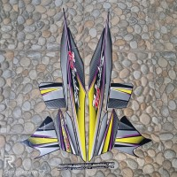 stiker striping motor Honda supra fit 2006 full hitam kuning