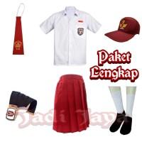 Set Lengkap Seragam Merah Putih SD Baju Pendek Rok Pendek