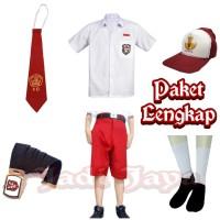 Set seragam Merah Putih SD Baju Pendek Celana Pendek