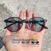 kacamata bulat oval lensa photocromic rubah warna otomatis