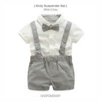 Shirt Party Set Pakaian Bayi Baju Pesta Baby Boy White Grey Bow ANDY