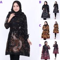 Baju Batik Atasan Wanita model tunik Motif Naga kencana Hitam Terlaris