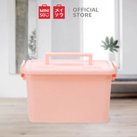 MINISO Storage Box Organizer Multifungsi, Putih / Merah Muda / Biru - Merah Muda