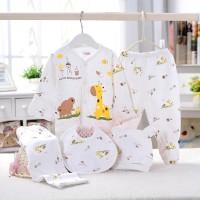 Pakaian Bayi Unisex Motif gajah dan jerapah Set Baju bayi 0-3Bulan v07