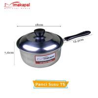Panci Susu Stainless Steel Makapal Tutup Stainless 18 cm
