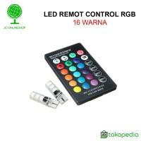 Lampu Sen senja LED RGB T10 5050 SMD 16 warna remot control universal