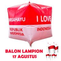 Dekorasi 17 Agustus HUT RI Balon Foil Lampion Kotak Besar 28cm 5611