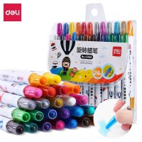 Deli whirligig crayon 24 colors Rotate the core without dirty 6966
