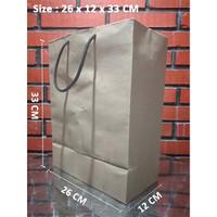 Paperbag Tali kur/Shopping Bag/Tas Kertas Polos - 26x12x33-Potrait