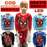 Baju Setelan Anak Laki-Laki Karakter Spiderman Lamp Led / Mata Lampu