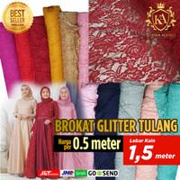 Kain Brokat Brukat Gliter Per 0,5 Meter bahan gamis kebaya mewah - Merah