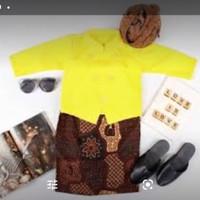 Beskap Solo Set Jarik Blangkon Selop Cute Baju Kostum Dalang Cilik