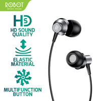 ROBOT RE240 Wired Headset Earphone High-Definition - Android - iPhone - Hitam