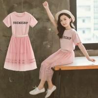Mesh Setelan Kaos T-Shirt Katun Korea Anak Perempuan Lengan Pendek