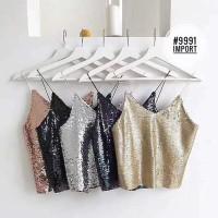 HOT SALE Karen Sparkly Bling Sequin Tank Top Baju Wanita Best Seller