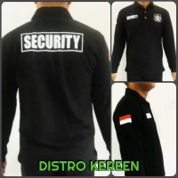 Baju Kaos Polo Shirt Security Hitam Logo Putih Lengan Panjang - M