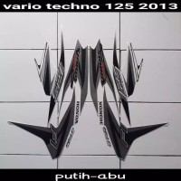 Striping sticker lis body honda vario techno 125 old fi 2013 putih abu