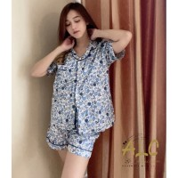 Piyama Baju Tidur BUNGA BIRU - Premium , Adem , Nyaman Baju Rumah