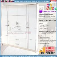 Lemari Pakaian Baju 4 pintu Putih Minimalis LP4P Klikfurniture