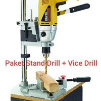 Paket Stand Drill Mesin Bor Tangan Iron Base+Ragum 3 Catok Stand Bor