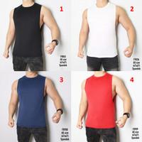 Baju Kaos Pria Polos Tanpa Lengan Olahraga Gym Lari [T8180]