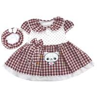 Baju Dress Bayi Perempuan Katun 6-12 Bulan Motif Kotak Gambar Panda
