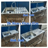 Bak Cuci Piring Portable Westafel Set kitchen Sink Wastafel Kran 96cm