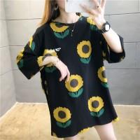T Shirt Sunshine Sunflower Kaos Bunga Matahari Oversized - Hitam