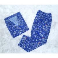FortKlass Piyama Galaxy Baju Tidur Dewasa Celana Panjang Lengan Pendek