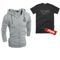Jaket REAL MADRID Hoodie Zipper Free T Shirt Big Size M L XL XXL XXXL