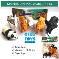 Animal World 6 pcs Binatang Karet | Mainan Karet Hewan