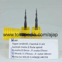 TAPER END MILL 2F 3.175 TIP 0.5mm R0.25 mata ukir router CNC alu kayu